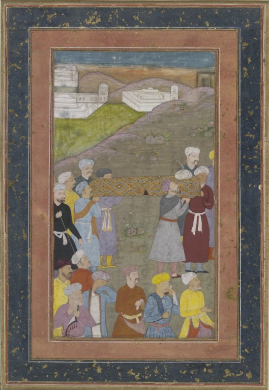 """The Funeral of Iskandar from a Khamseh of Nizami, ascribed to Salim Quli; Mughal India, c. 1610. <a href=""""http://www.britishmuseum.org/research/collection_online/collection_object_details.aspx?objectId=231575&partId=1"""">The British Museum.</a> <a href=""""https://commons.wikimedia.org/wiki/File:Funeral_of_Iskander.jpg """">Image Source</a>"""