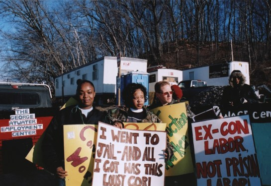 Solobia Hutchins, Ruby King and Holly Richardson of the Massachusetts Statewide Harm Reduction Coalition (SHaRC) protest at the construction site of a new women's jail in Chicopee, Massachusetts, in 2006. Photo courtesy of the Arise for Social Justice Records, Sophia Smith Collection, Smith College.
