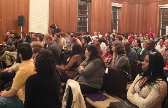 A full house at Prof. Edward Baptist's lecture last week