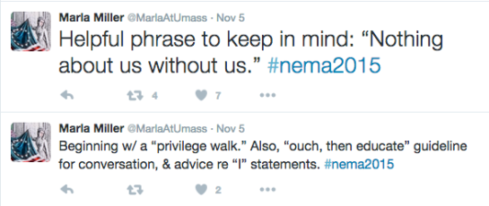 Prof. Marla Miller (@MarlaAtUmass) tweets during session on gender-inclusive practices in museums.
