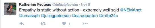 Katherine Fecteau (@defactofecteau) tweets about empathetic experiences in museums.