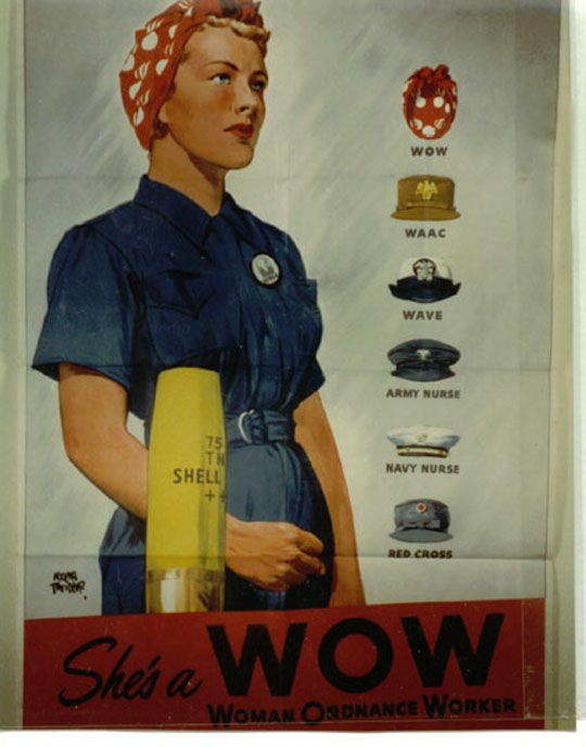 "A poster recruiting women to take wartime work at a federal Armory or defense plant and become a Woman Ordnance Worker (WOW). Posters with the iconic image of ""Rosie the Riveter"" also were employed to attract women into defense industries. This woman's bandana is emblazoned with the WOW logo: a cannon ball with wings."