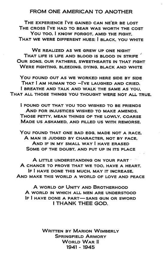 "Full text of Marion Wimberly's poem, ""From One American To Another,"" written for Nellie Doty and given as a gift to her in 1945."