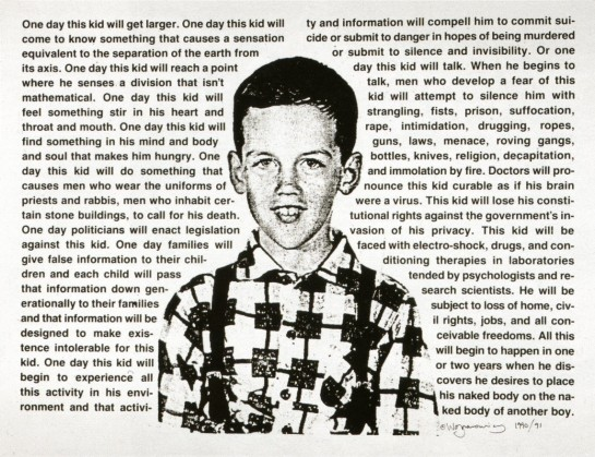 David Wojnarowicz, Untitled (One day this kid . . .), 1990, Photostat, edition of ten, image taken from Luna, UMass-Amherst-Art History Image Collection.