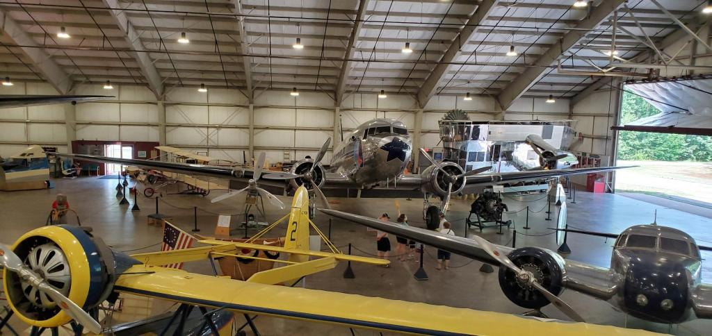 Photograph of the interior exhibit space of the New England Air Museum