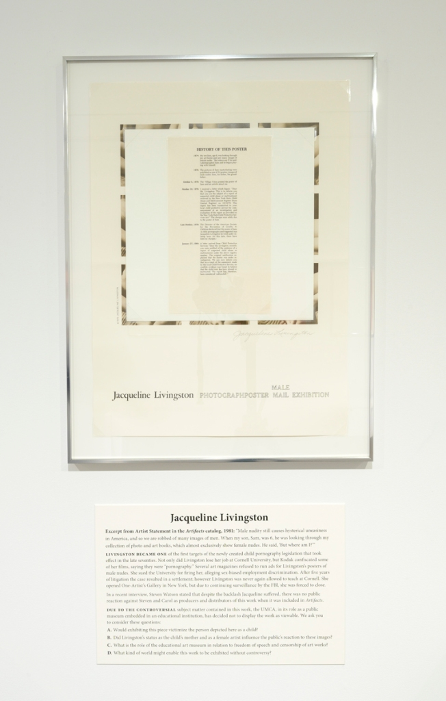 Image of the display solution Scott and Hughes created for the UMCA exhibition, showing Livingston's poster with a contextual label beneath.