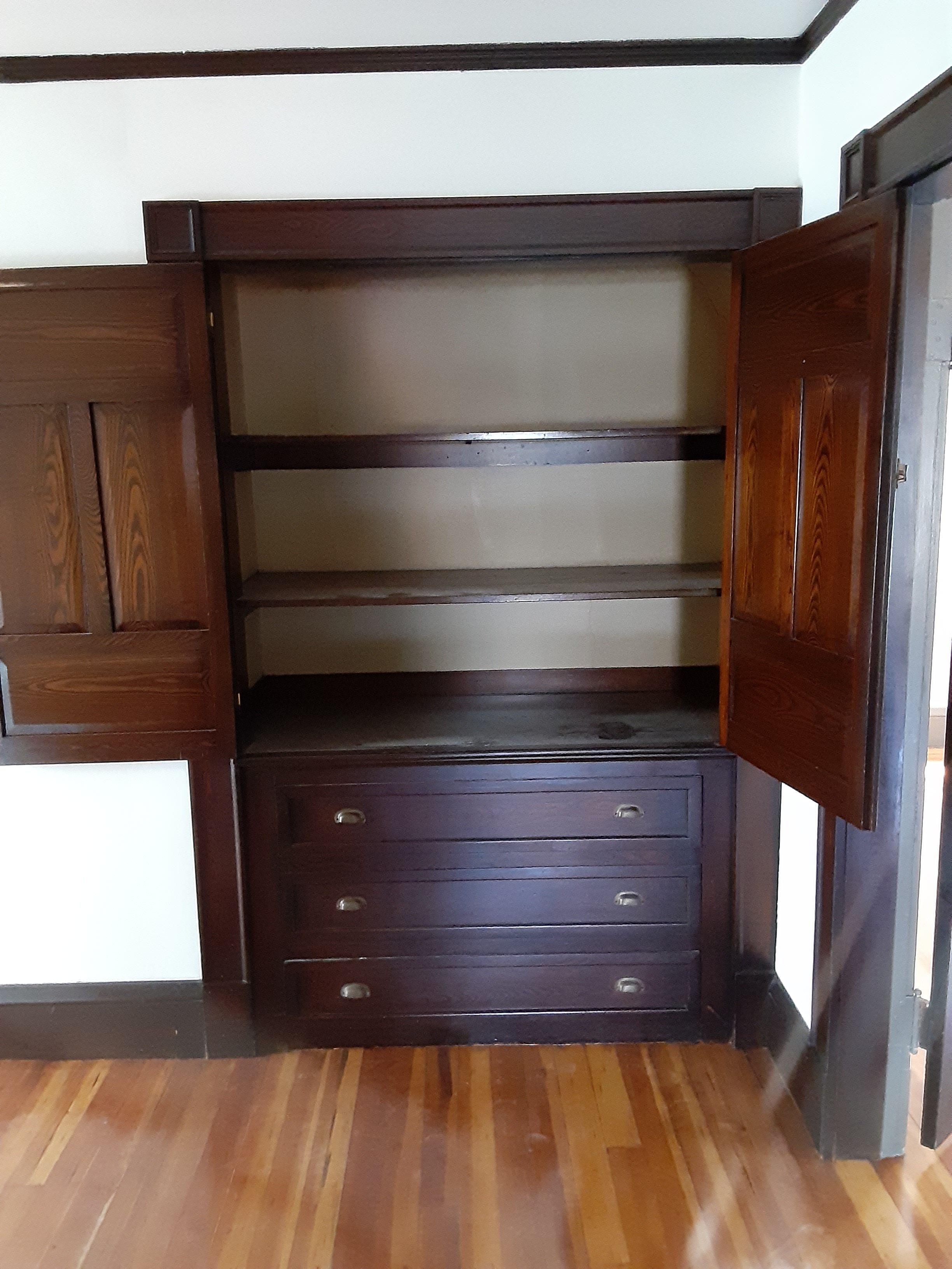 Contemporary photo of a brown wooden cabinet with the doors open.