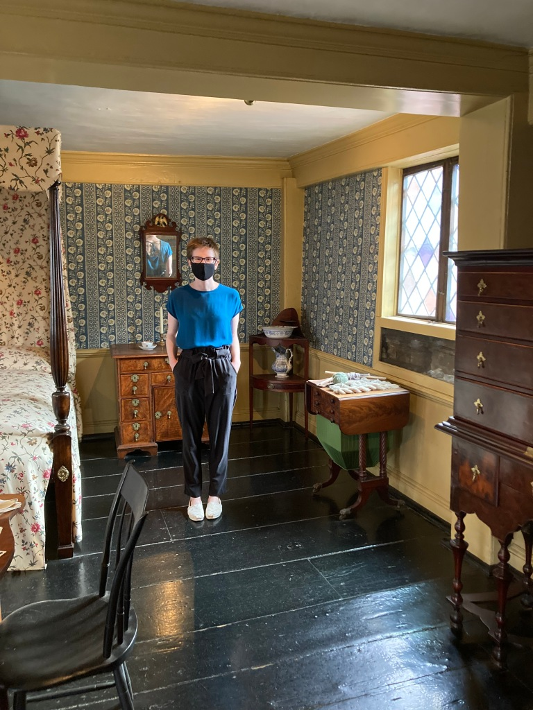 Tirzah Frank, UMass Amherst History MA and Public History Certificate student in the Best Chamber, Paul Revere House, Boston.